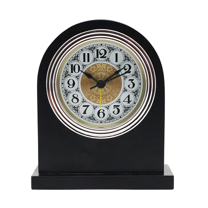 银框金花白底黑阿拉伯铝黑色实木闹钟
