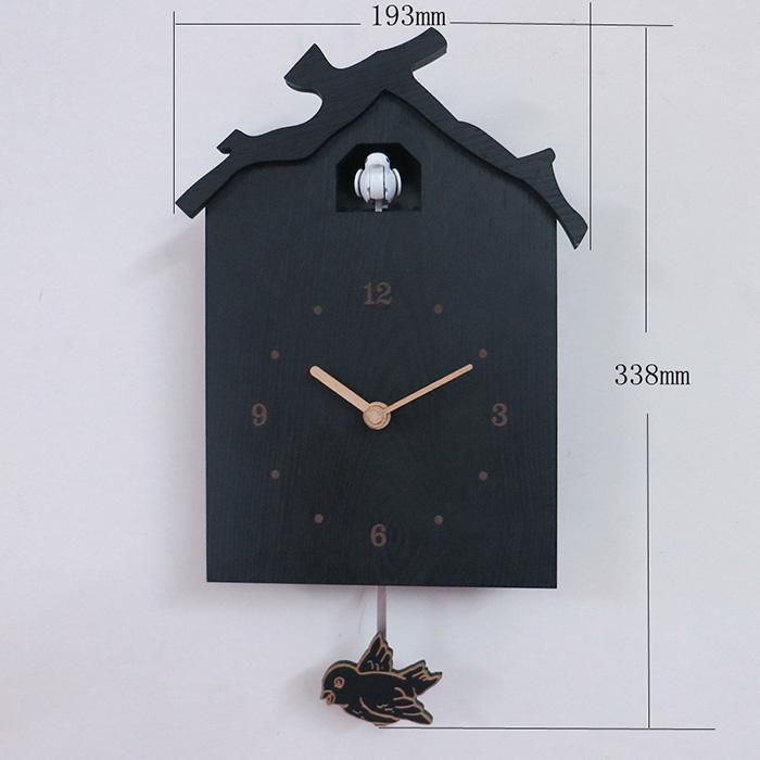 黑色木屋布谷鸟摇摆报时挂钟