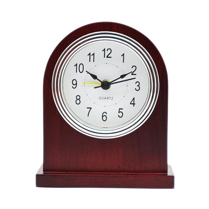 银框白底黑阿拉伯PVC酒红色实木闹钟